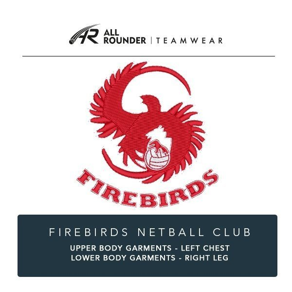 Firebirds Netball Club Embroidery Details