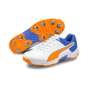 2021 Puma 19.2 Spike Cricket Shoes - White/Blue/Orange