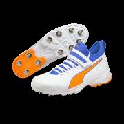 2021 Puma 19.1 Bowling Spike Cricket Shoes - White/Blue/Orange