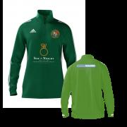 Streatham and Marlborough CC Adidas Green Zip Junior Training Top