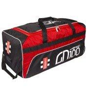 2020 Gray Nicolls GN 100 Wheelie Cricket Bag - Black & Red