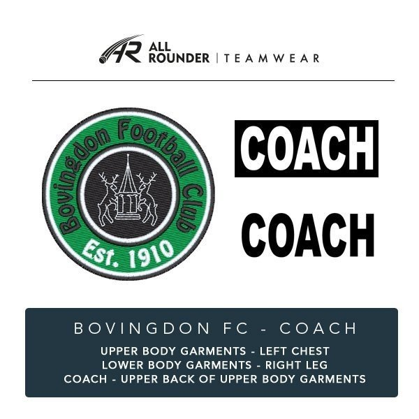 Bovingdon FC Coaches Embroidery Details