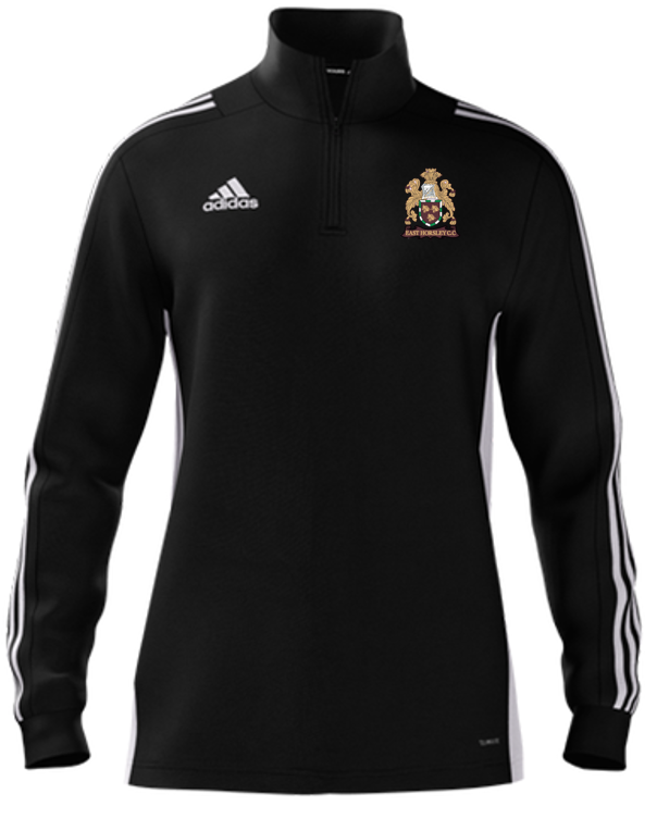 East Horsley CC Adidas Black Zip Junior Training Top