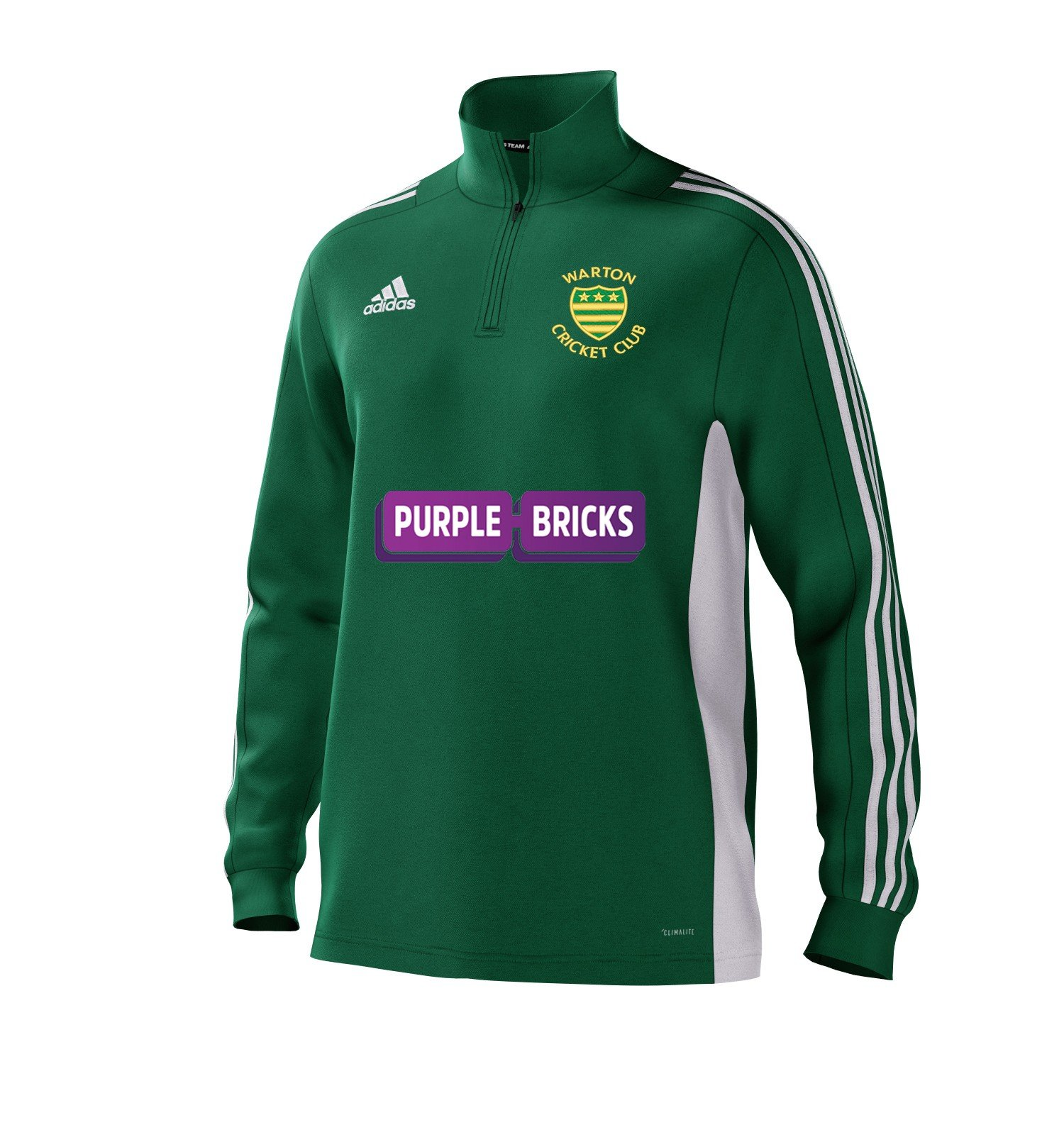 Warton CC Adidas Green Junior Training Top