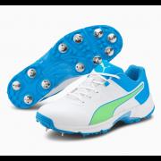 2021 Puma 19.1 Spike Cricket Shoes - White/Blue/Green