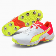 2021 Puma 19.1 Spike Cricket Shoes - White/Red/Yellow