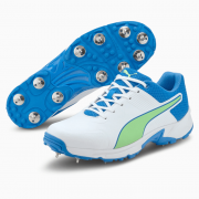 2021 Puma 19.2 Spike Cricket Shoes - White/Blue/Green