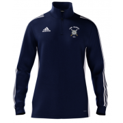 Long Marston CC Adidas Navy Zip Junior Training Top