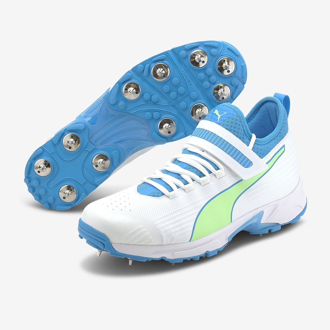 2021 Puma 19.1 Bowling Spike Cricket Shoes - White/Blue/Green