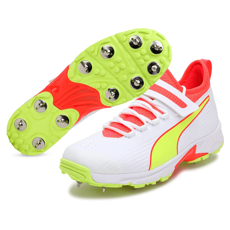2021 Puma 19.1 Bowling Spike Cricket Shoes - White/Red/Yellow